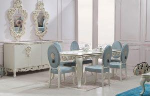 Zebrano Mobilya Yemek Masası ve Sandalye Seti